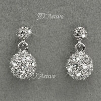NEW DROP EARRINGS 9K GF 9CT WHITE GOLD CLEAR MADE WITHSWAROVSKI CRYSTAL BALL