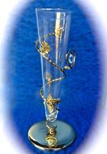 BEAUTIFUL GLASS VASE 24K GP BASE SCULPTURE W/ ROSE & HEART AUSTRIAN CRYSTALS NIB