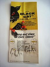 "1956 Advertising Card for ""Black Cat Snelled Fish Hooks w/ Orig Hooks Attached*"