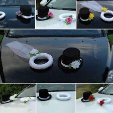 SCHLEIER UND HUT  Auto Schmuck Braut Paar Rose Dekoration Autoschmuck Hochzeit