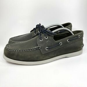 Sperry Top Sider A/O 2 Eye Varsity Boat Shoe Size 12 M Men Gray Leather 19757