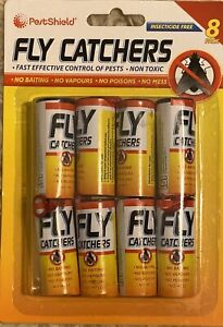 8 X FLY CATCHER PAPER STICKY GLUE INSECT BUG TRAP KILLER STRONG ROLL TAPE STRIP