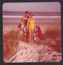 Vintage Photograph Man & Woman in Bathing Suits Standing on Beach