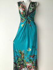 Womens Summer Long Maxi BOHO Floral Evening Party Dress Beach Sundres S/M TEAL