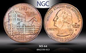2001-P WASHINGTON STATE QUARTER KENTUCKY 25 CENT NGC MS64 NICELY TONED