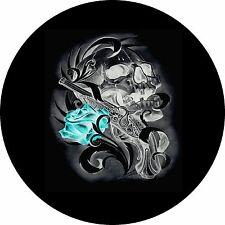 Skull Gun and Teal Rose Jeep Wrangler Liberty RV Trailer Camper Spare Tire Cover