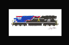 """Norfolk Southern 6920 SD60E Veterans 11""""x17"""" Matted Print Andy Fletcher signed"""