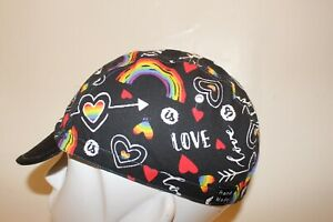 CYCLING CAP PEACE AND LOVE  HANDMADE IN USA   S M L
