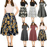Summer Fashion Womens Short Sleeve Vintage Puffy Swing Casual Party Dress Plus