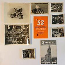 Rare Harley Davidson 1952 Enthusiast Magazine Photo Lot w Original Mag Pictures