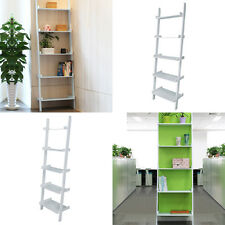 5Tier Wooden Wall Rack  Leaning Ladder Shelf Gray Unit Bookcase Display Stock HK