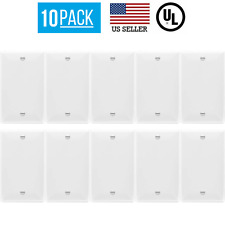 10 PACK 1-GANG BLANK OUTLET NO DEVICE COVER WALL PLATE, WHITE