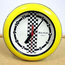 Bulova Vintage Wall Clock Retro Yellow Checker Flag Pattern Quartz