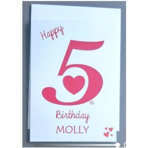 Personalised 5th Birthday Card Girl - 5 Years Old - Daughter Granddaughter Niece
