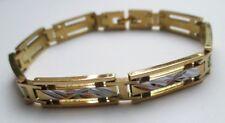 bracelet bijou mixte homme rhodié couleur or argent gourmette gravé ajouré 3561