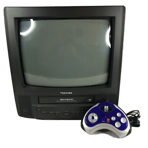 Black Toshiba MV13K2R CRT Color TV/VCR Combo Front Input Retro Gaming + 25 Game