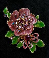 Beautiful vintage rhinestone enamelled flowers brooch/pendant, circa 1940's