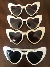 Lot of 4 Retro Heart Shaped Women Sunglasses New White and Beige