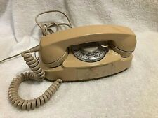 Vintage Princess Tan Rotary Dial Telephone Western Electric Bell Systems Desk