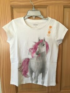 NWT Gymboree Horse Tee Shirt Top Girls Outlet White 4, 5/6,7/8,10/12