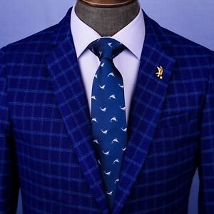 Navy Blue Italian Swordfish Designer Tie 8cm Necktie Florentine Accessory