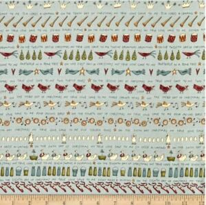 Henry Glass Christmas Christmas On The 12th Day Fabric Blue/Grey 100% Cotton