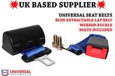 Universal Retractable Blue Lap Belt & 30cm Webbed Buckle End E4. VAT INC. UK