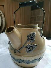 New listing Vintage Antique Pottery Stoneware Batter Jug Crock w/ Cobalt Blue & Bail Handle