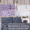 600TC Microfiber Duvet Cover Bedding Set Modern Ruffle Waterfall Teen 4 Pc Set