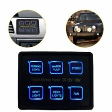 12/24V 6-Gang LED Touch Screen Switch Panel Box RV Camper Marine Boat Universal