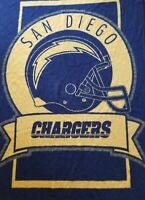 BIEDERLACK VTG SAN DIEGO CHARGERS FULL SIZE THROW BLANKET 1980'S 77x58 VERY SOFT