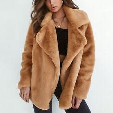 Womens Fluffy Warm Outwear Faux Fur Lapel Coat Plush Winter Long Sleeve Overcoat