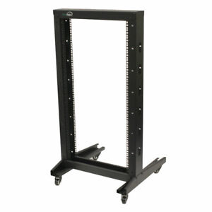"""4ft Open Frame 19"""" 22U 2-Post Network Server Relay Rack Rolling with Casters"""