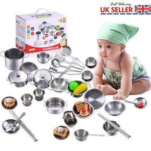 16 Pcs Kitchen Cooking Utensils Pots Pans Game Set Play Kids Children Toy Gifts