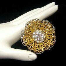 Vintage Flower Brooch Pin Mixed Metals 2 Tone Filigree Rhinestone Statement
