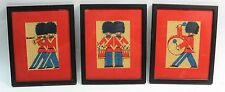 Cute 3pcs c.1940's Toy Soldier Marching Band Children's Framed Burlap Pictures