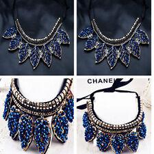 Fashion Women Blue Crystal Leaves Choker Chain Bib Statement Pendant  Necklace