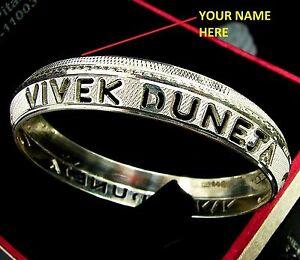 925 Personalised Name Solid Sterling Silver Men Sikhi Kada Bangle - 1546