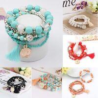 Stretch Multilayer Acrylic Beads Bracelet Tassels Bangles Bohemian Rhinestone