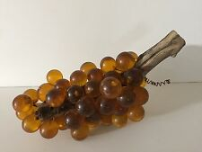"Vintage Mid Century Huge Lucite Acrylic Amber Grapes on Driftwood, 17"" Long"