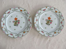 Ceralene Guirlandes Limoges France-Floral Green Line on White- 2 Salad Plates