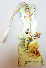 Victorian Paper Bookmark Cherrub Angel Baby String Tassel Gift Tag #Bk-03