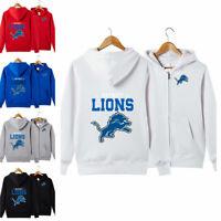 Detroit Lions Sports Hoodies Zip-up Sweatshirt Hooded Coat Jacket Fan's Gift