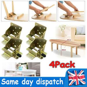 4PCS-Folding Table Chair Leg Hinge 90° Self Locking Bracket Hinges Hardware UK