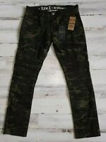 Raw X Mens Stretch Moto Slim Straight Leg Jeans Camo/Military*...Fast shipping!!