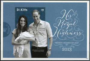 St Kitts Royalty Stamps 2013 MNH Prince George Royal Baby William & Kate 1v S/S