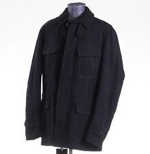 NWT $7995 BRIONI Navy Blue Matte Leather 3/4 Field Jacket XL (Eu 54) Outer Coat