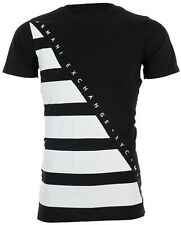 Armani Exchange Mens S/S T-Shirt DIAGONAL STRIPE Designer BLACK Casual S-2XL $45