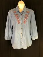 Laura Scott Women's Sz M Denim Look 3/4 Sleeve Embroidery Floral Button Up EUC