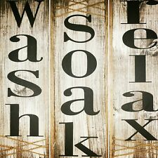 rustic 3 pc bath sign set, wash soak relax country home decor